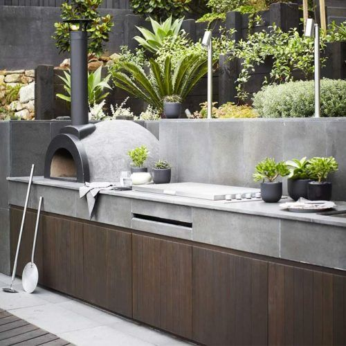 Minimalistic Outdoor Kitchen With Pizza Oven #pizzaoven #graycolor