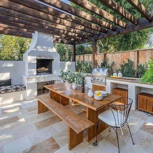 Outdoor Kitchen With An Oven And Sitting Area #sittingarea #pizzaoven