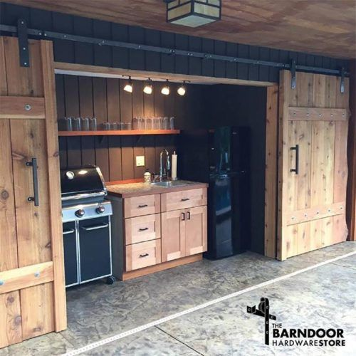Wooden Outdoor Kitchen Area With Sliding Doors #rustickitchen #slidingdoor