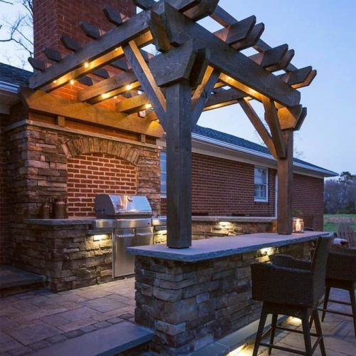 Outdoor Kitchen With Bar And Lights #bar #lights