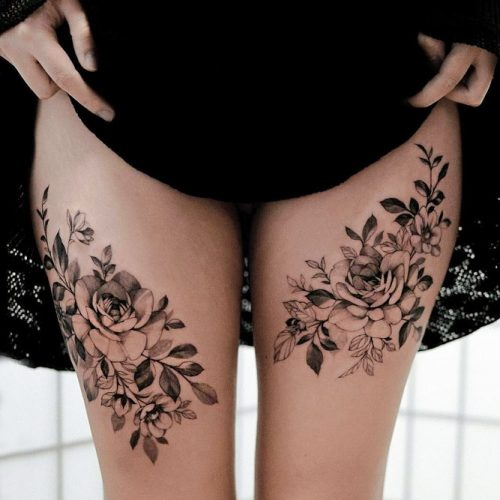 Think of the place where you can hide tattoo with outfits #flowertattoo #legtattoo
