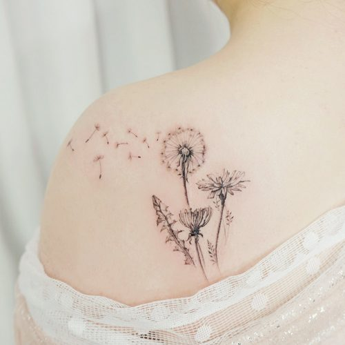 Think of place where your body may not change with age #dandeliontattoo #flowertattoo