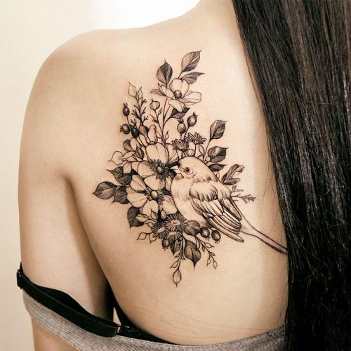 The calves or shoulder for pain in the lower- to mid-range #shouldertattoo #birdtattoo