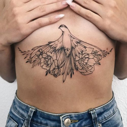 Avoid bony areas to make your session less painful #sternumtattoo #birdtattoo