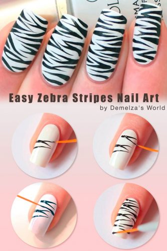 How To Do Zebra Stripes Nail Art At Home #nailsarttutorial #easynailart