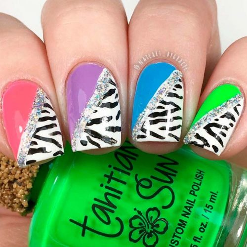 Colorful Diagonal Blocked Nail Design #glitternails #colorfulnails