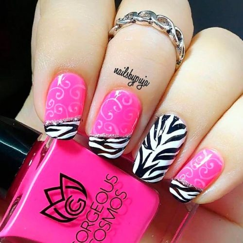 Freehand Nail Art With Zebra Pattern Accents #freehandnailart #frenchnailtips
