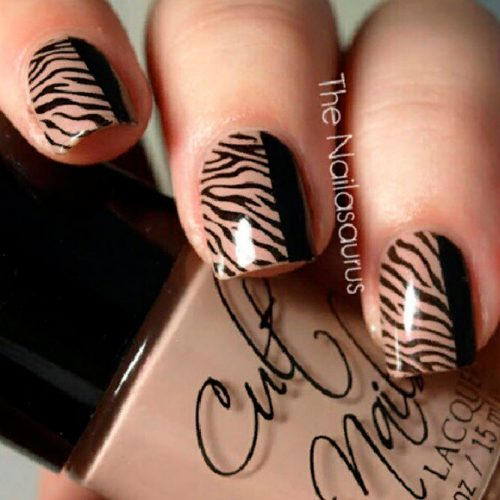 Half And Half Zebra Nail Design #shortnails #trendynailart