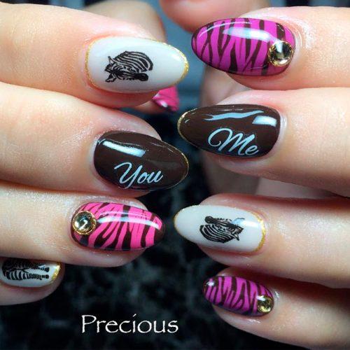 Zebra Nail Art With Rhinestones #rhinestonesnails #brightnails