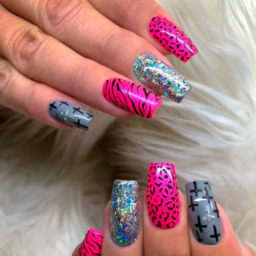 Wild Animals Pattern Combo #brightnails #pinknails