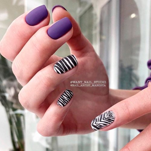 Matte Zebra Pattern Nails #mattenails #purplenails