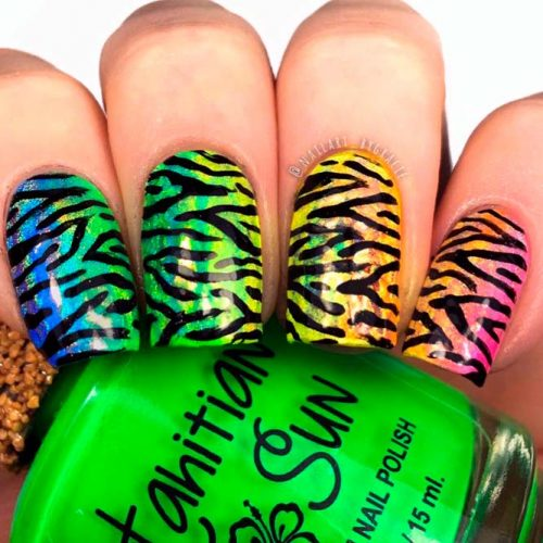 Rainbow Holo Zebra Nails #rainbownails #ombrenails