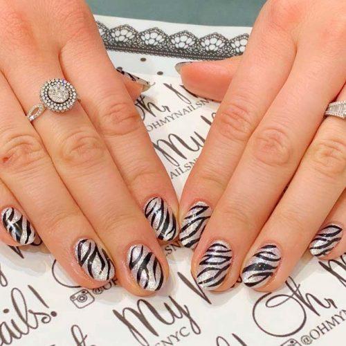 Glitter Zebra Nails Design #glitternails #trendynailart