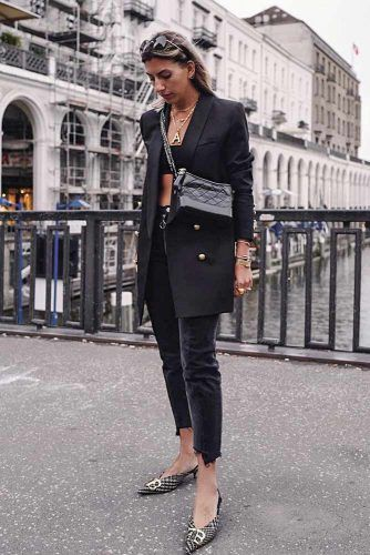 Black Blazer + Black Summer Top #blackoutfits