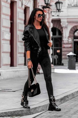 Cool Style With Leather Jacket And Boots #casuallook #edgystyle
