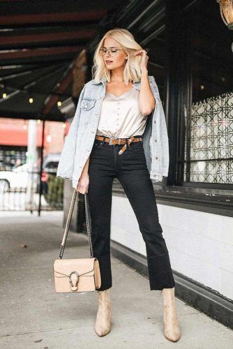 Black Flared Jeans With Silk Top #flaredjeans