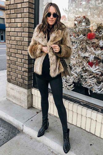 Black Jeans With Faux Fur Jacket #fauxfur #furjacket