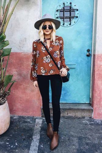 Hat And Brown Blouse #hat