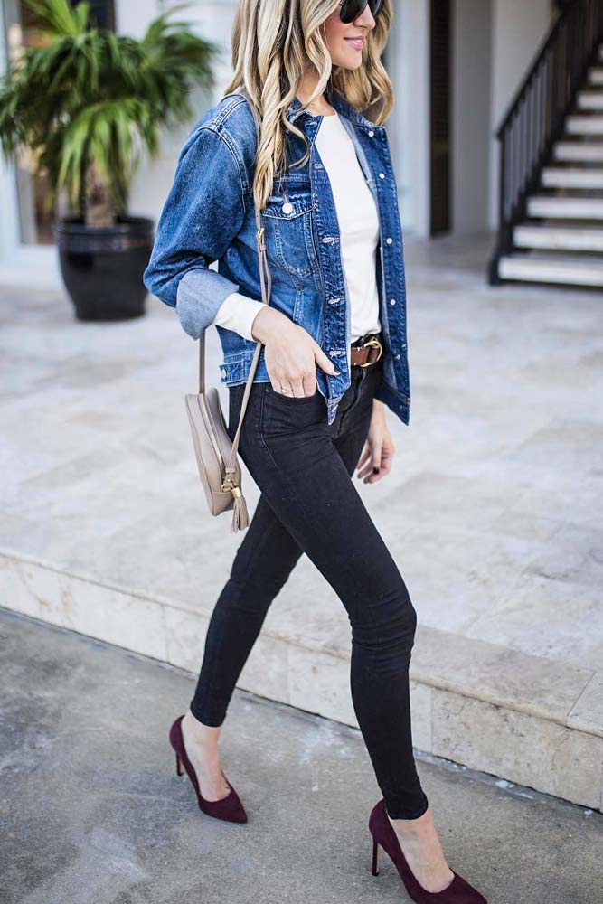 Black Jeans With Denim Jacket #denimjacket