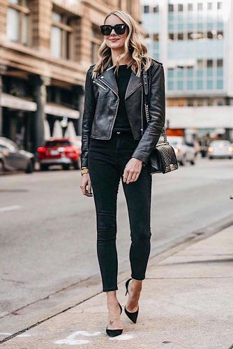 Monochromatic Look With Black Leather Jacket #leatherjacket #falloutfits