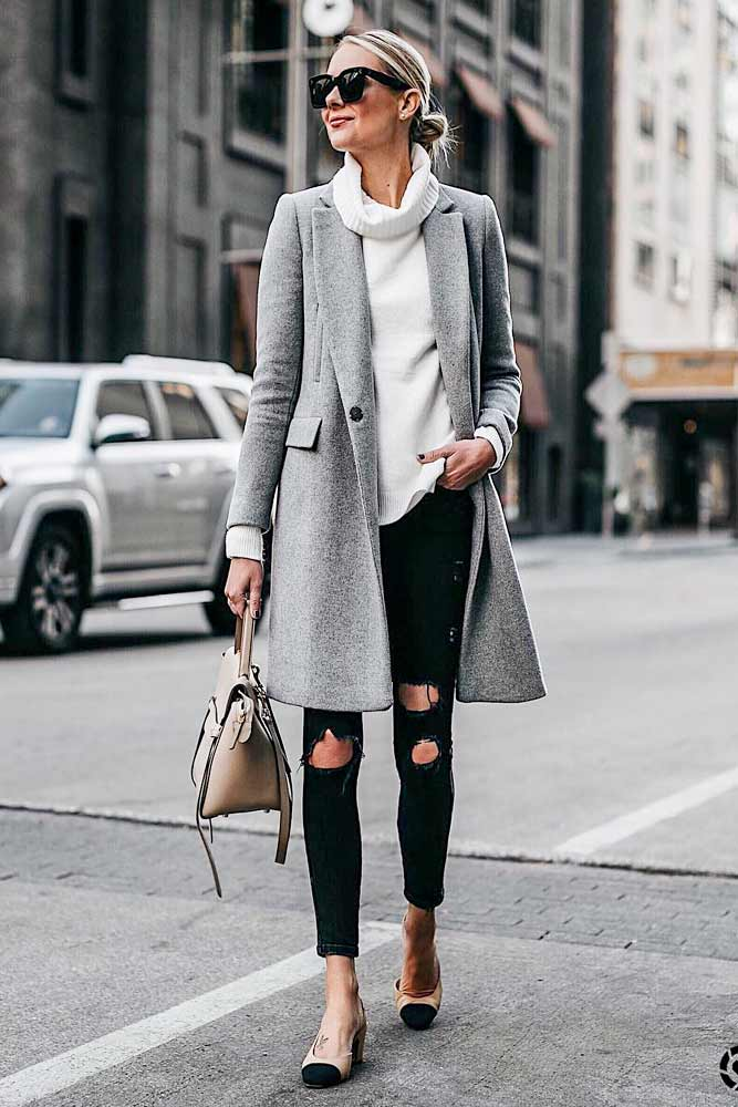 Ripped Jeans With Classy Grey Coat And White Sweater #rippedjeans #greycoat