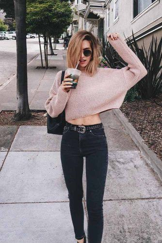 Black High Waisted Skinny Jeans With Long Sleeved Top #longsleevetop