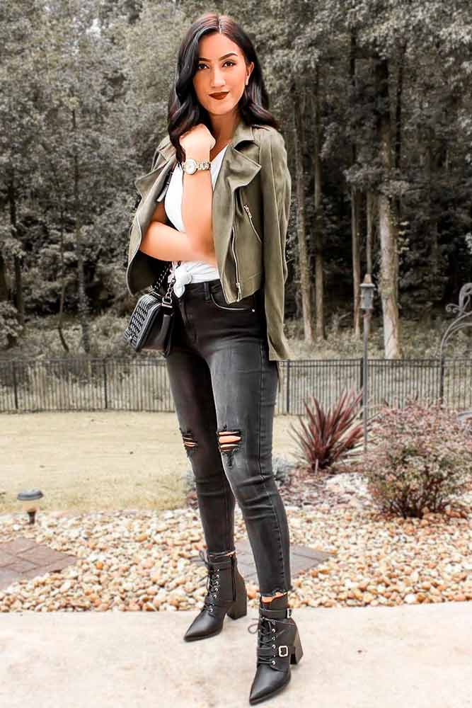 Olive Jacket And Ripped Skinny #skinnyjeans
