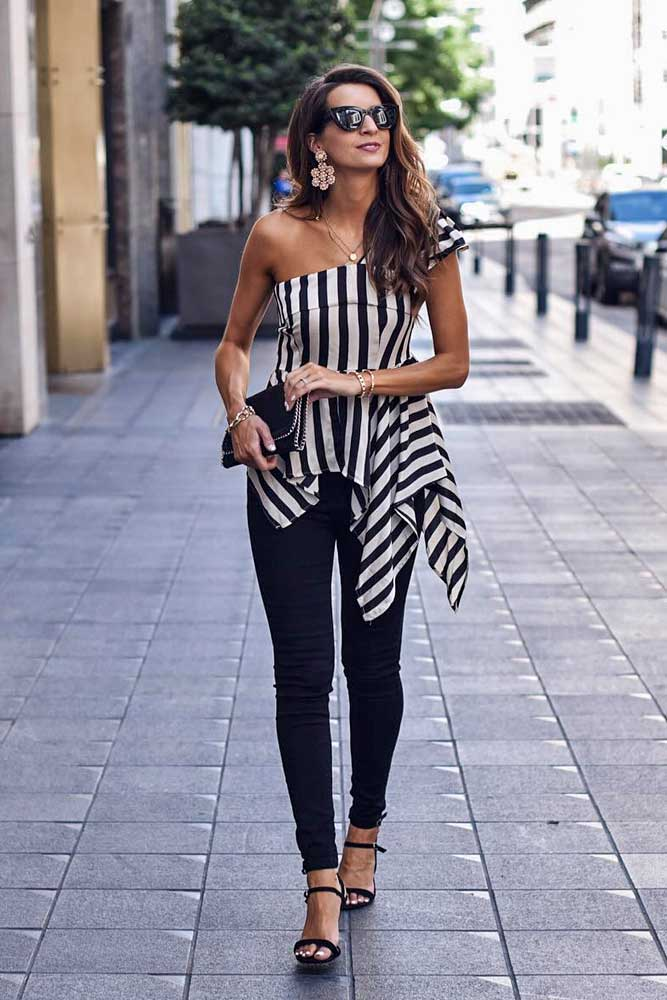 Black Jeans With One Shoulder Striped Top #oneshouldertop #stripedtop