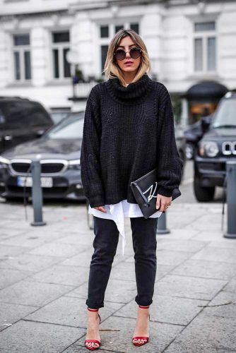 Oversize Sweater With Shirt Underneath #oversizesweater