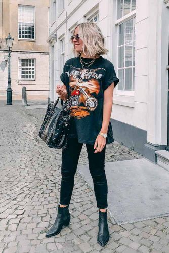 Grunge Style With Black Jeans And Boyfriend T-Shirt #grungestyle