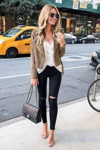 Ripped Jeans With Brown Blazer #blazer #rippedjeans