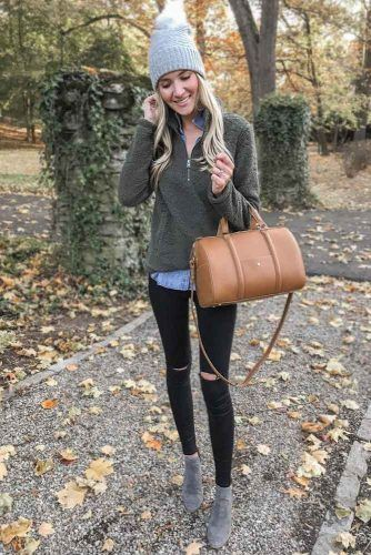 With Sweater And Denim Shirt Underneath #falloutfits #rippedjeans