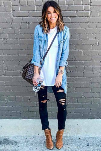 Outfits With Long Denim Shirt And Ripped Jeans #rippedjeans