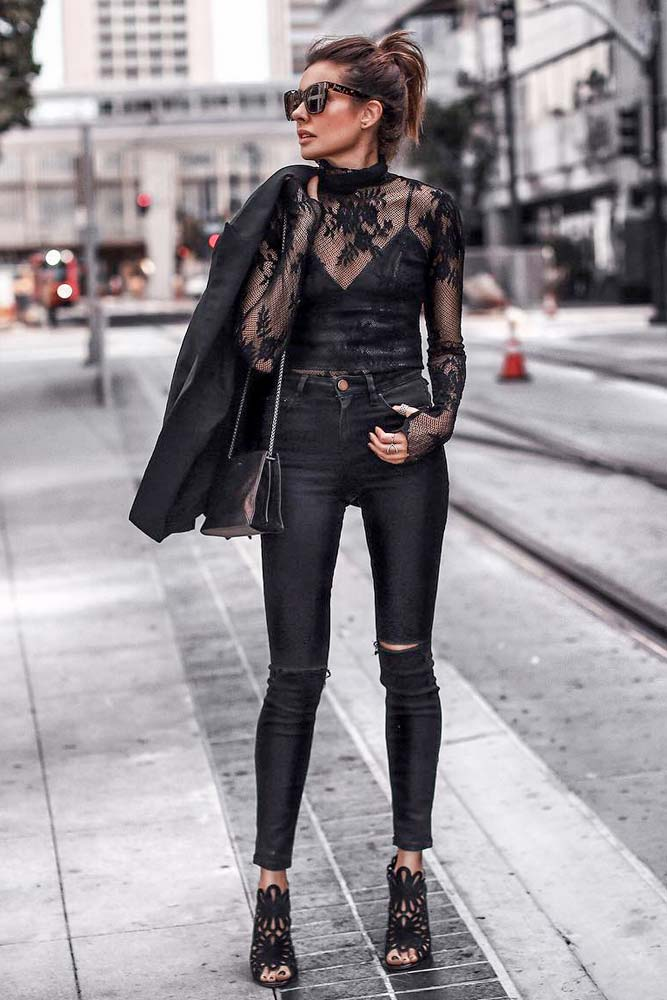 Ripped Jeans With Black Transparent Blouse And Top Underneath #rippedjeans #highwaistedjeans