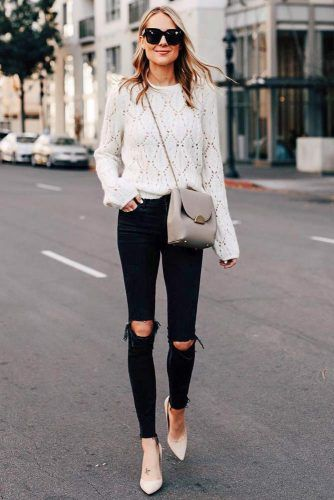 Classy Milk Sweater And Same Colored Heels With Ripped Jeans #rippedjeans