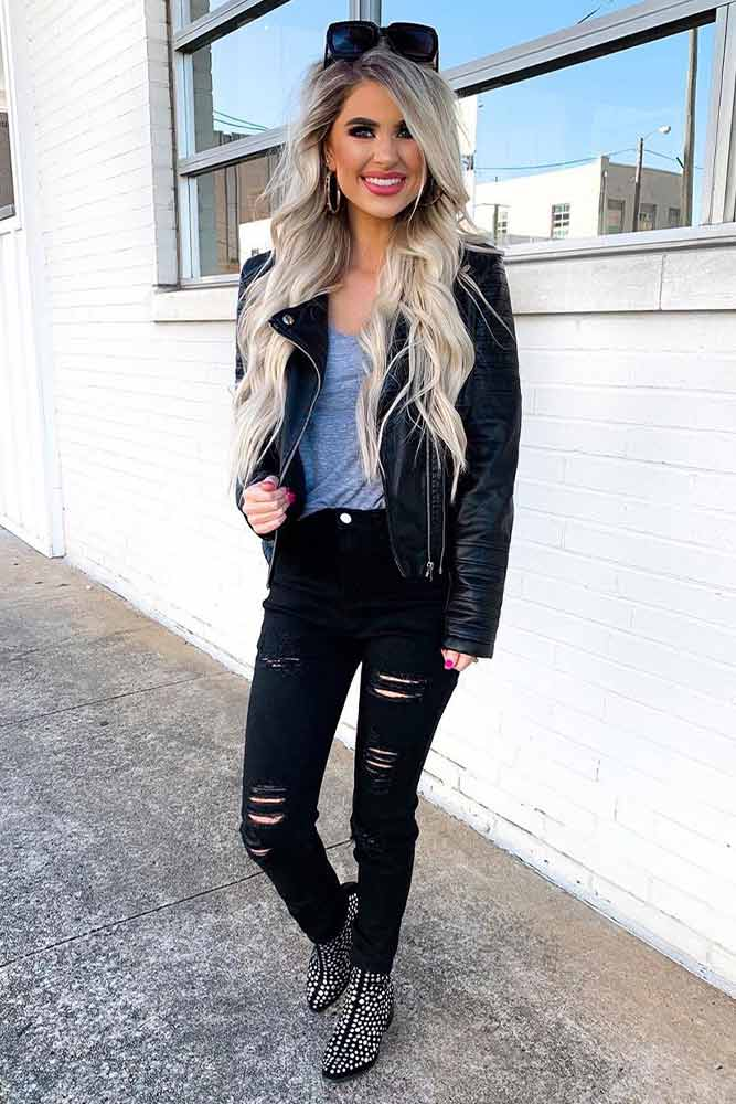 Leather Jacket And Ripped Jeans #rippedjeans #leatherjacket