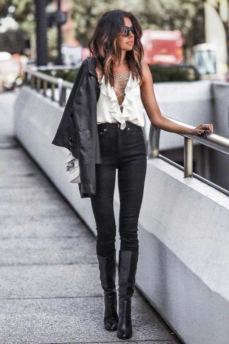 High Waisted Black Jeans With V-Neck Blouse #highwaistedjeans