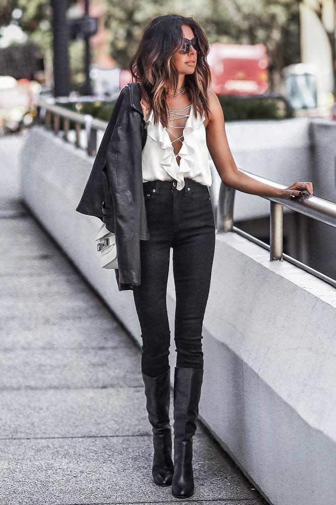 High Waisted Black Jeans With V-Neck Blouse #highwaistedjeans