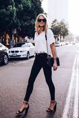 Classic Style With Black Jeans And White Blouse #whiteblouse