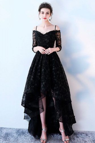 Asymmetric Black Wedding Dress #weddingdress #blackdress