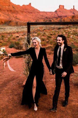 Simple But Elegant Black Wedding Dress With Sleeves #bohoweddingdress #simplewedingdress