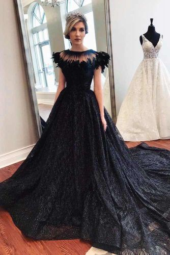 Black Wedding Dress With Feathers Top #feathersdress #weddinggown
