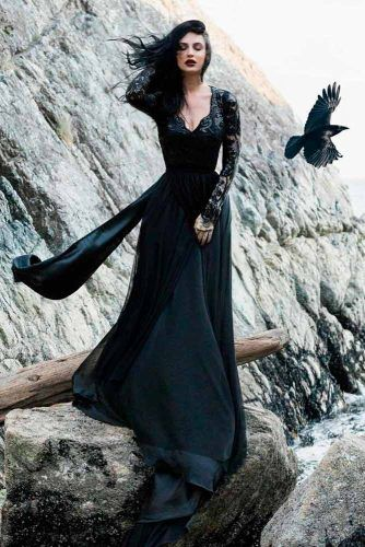 Gothic Black Dress With Lace Sleeves #gothicweddingdress #uniqueweddingdress