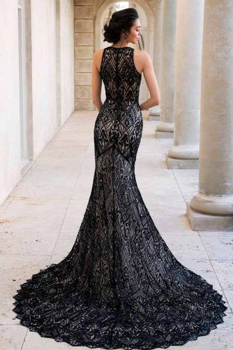 Mermaid Wedding Dress With Black Sequins #mermaiddress #sequinsdress