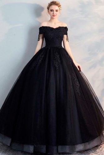 Off-The-Shoulder A-Line Black Dress #weddinggown #blackdress