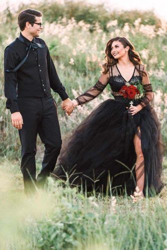 Black Tulle Dress With Long Sleeves #sleeveweddingdress #weddinggown