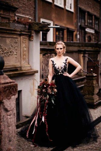 Wedding Dress With Black And White Lace Top  #lacedress #weddinggown