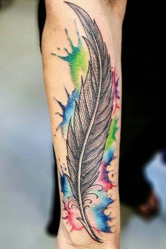 Feather Tattoo With Watercolor Elements  #watercolortattoo