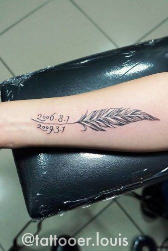 Feather Tattoo With Memorial Date #datetattoo