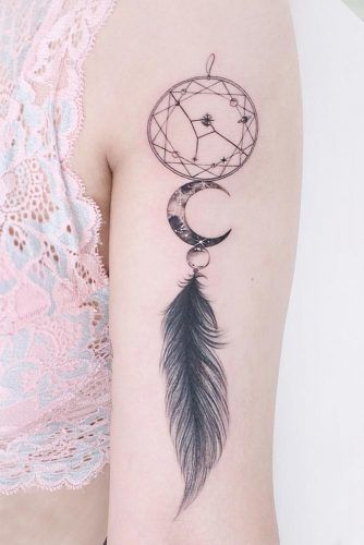 Dream Catcher Feather Tattoo #dreamcatchertattoo